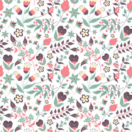 Floral seamless pattern with doodle flowers and leaves 向量圖像