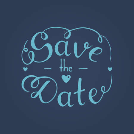 Save the date hand lettering, hand drawn phrase, vector illustration