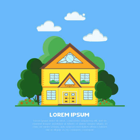 Vector illustration of house in forest, flat style. Cottage in country side. 向量圖像