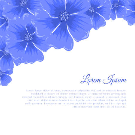 Beautiful vector illustration of bright blue flowers. Floral conner with cute plants.