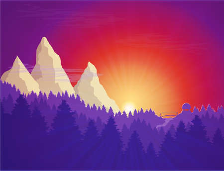 Flat nature forest landscape, with sunset, mountains for card or travel story 向量圖像