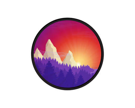 Flat nature forest landscape badge. Background with sunset, sunrise and mountains.