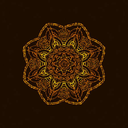 Abstract mandala with light. Meditation background in east Indian style. Yoga design element. 向量圖像