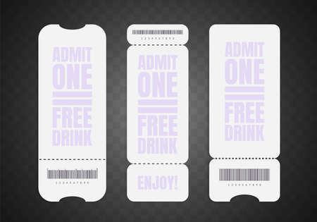 Blank ticket mockup set. Realistic white paper coupon isolated on gray background. Cinema, circus, concert and movie ticket layouts design. Admit one identification. Raffles. Control pass. Vector