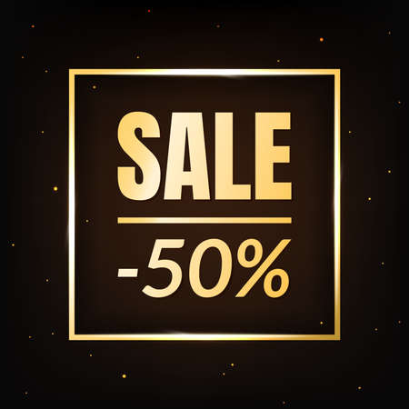 Sale discount 50 percent off banner template on dark background. Text in golden square frame. Poster with selling sign. Marketing promo sale offer concept. Black Friday. Vector illustration.