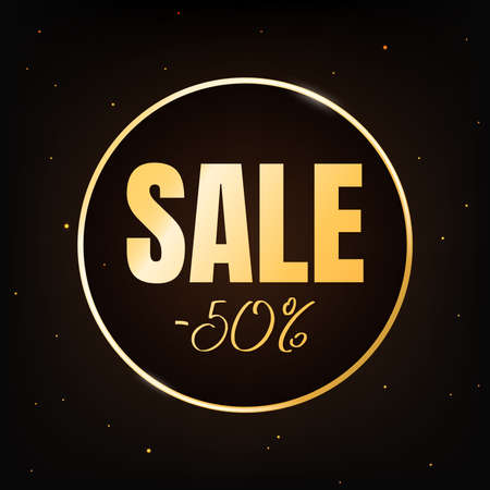 Sale discount -50 percent banner template on dark background. Text in golden round frame. Poster with selling sign. Marketing promo sale offer concept. Black Friday. Vector illustration.