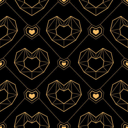 Vector illustration black and gold seamless pattern geometric line hearts to Valentine's Day, wedding. Romantic art deco texture. For invitation, save the date, greeting card, wrapping paper, textile