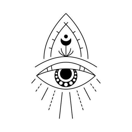 Blackwork mystic eye tattoo flash. Eye of Providence. Magic witchcraft symbol. Evil eye amulet geometric ornament. Esoteric sign. Sacred geometry, spirituality, occultism. Isolated vector illustration Illustration