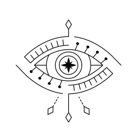 Blackwork line art mystic eye tattoo. Providence sight magic witchcraft symbol. Evil eye amulet geometric ornament. Esoteric sign. Sacred geometry spirituality, occultism. Isolated vector illustration