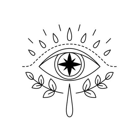 Vector illustration of mystic eye, providence sight with star inside. Magic witchcraft symbol. Geometric line evil eye amulet with leaves. Esoteric sign. Sacred geometry, occultism. Isolated on white