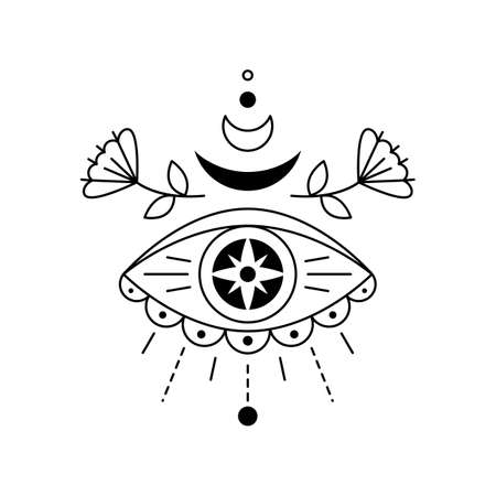 Vector illustration of mystic eye, providence sight. Magic witchcraft symbol. Geometric line evil eye amulet with moon, star and flowers. Linear esoteric sign. Sacred geometry. Isolated on white