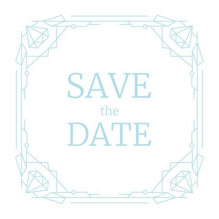 Vector illustration design for wedding invitation, retro line geometric frame. Blue linear Art Deco geometry pattern, luxury trendy border with diamond. Vintage save the date square rectangle template Illustration