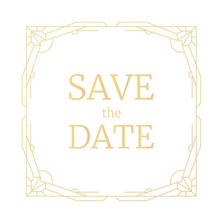 Vector illustration golden geometric frame, retro line wedding invitation. Gold frame Art Deco geometry pattern, trendy border. Vintage save the date square rectangle template, greeting card.