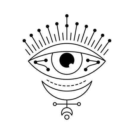 Blackwork mystic eye tattoo flash. Eye of Providence and esoteric moon sign. Magic witchcraft symbol. Evil eye amulet geometric ornament. Sacred geometry, occultism. Isolated vector illustration