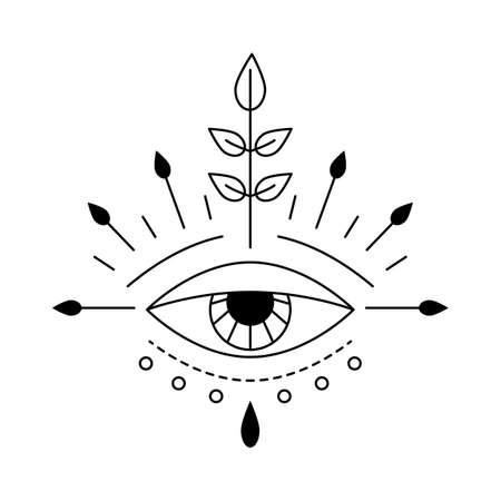 Vector illustration of beautiful mystic eye, providence sight. Magic witchcraft symbol. Geometric line evil eye amulet with leaves. Esoteric sign. Sacred geometry, occultism. Isolated on white
