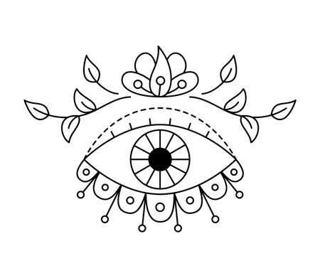 Vector illustration of mystic eye, providence sight with natural botanical decor. Witchcraft symbol. Geometric line evil eye amulet with leaves. Esoteric sign. Sacred geometry. Isolated on white