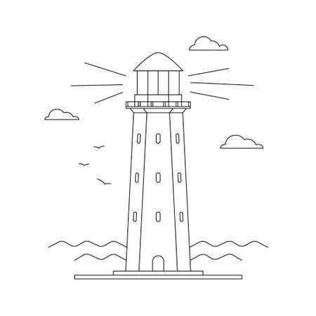 Line art vector of lighthouse building with sea ocean water landscape, path lighting. Searchlight tower, marine navigation of ships. Linear lighthouse marine theme seaside. Sea pharos or beacon.