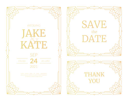 Vector illustrations set of luxury wedding invitation cards with gold gradient. Gold frame. Line art deco vintage geometric pattern wedding template for save the date cards with heart shape corners.