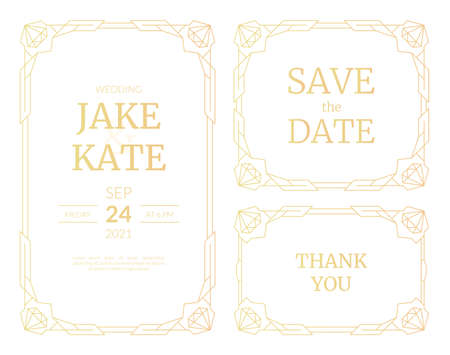 Vector illustrations set of luxury wedding invitation cards with gold gradient. Gold frame. Line art deco vintage geometric pattern wedding template for save the date cards with jewelry stone corners