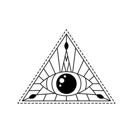 Vector illustration blackwork line art mystic eye tattoo. Providence sight in triangle, amulet print. Geometric line mystical evil all seeing eye symbol. Sacred geometry. Black and white esoteric sign