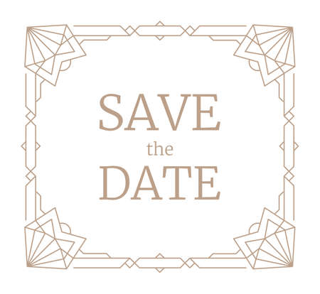 Vector illustration geometric frame, retro line wedding invitation. Linear frame Art Deco geometry pattern with hearts in corners, trendy border. Vintage save the date rectangle template greeting card