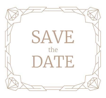 Vector illustration geometric frame, retro line art wedding invitation. Art Deco geometry pattern with jewelery gemstones. Vintage save the date rectangle card template. Trendy gem stone border