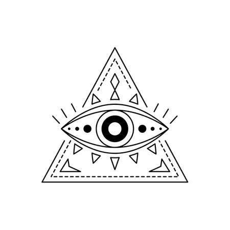 Vector illustration blackwork line art mystic eye tattoo. Providence sight amulet in triangle. Evil eye geometric ornament. Esoteric sign. Sacred geometry spirituality, occultism. Isolated on white