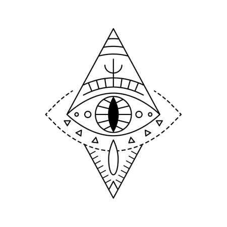 Geometric vector design line art mystic eye tattoo. Boho providence sight witchcraft symbol in rhombus shape. Evil eye amulet ornament. Esoteric sign. Mystical sacred geometry spirituality, occultism. Illustration