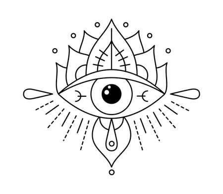 Vector illustration line art mystic eye tattoo. Providence sight witchcraft symbol. Evil eye amulet geometric ornament. Esoteric sign. Boho design. Sacred geometry spirituality, occultism, mystical. Illustration