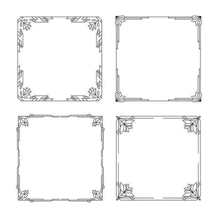 Set of Art deco borders and frames. Line vintage pattern vignette with geometric floral. Vector illustration. Decorative linear geometry frames. Template for greeting card, wedding invitation. Illustration
