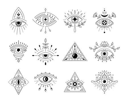 Vector collecton line art mystic eyes tattoo. Set of providence sight witchcraft symbol. Evil eye amulet geometric ornament. Esoteric sign. Boho design. Sacred geometry, occultism, mystical. Illustration