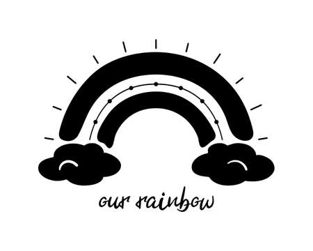 Black monochrome rainbow with text, flat style. Rainbow with clouds, abstract hand drawn icon. Glyph nature weather element. For poster, print, nursery room or card. Isolated vector illustration
