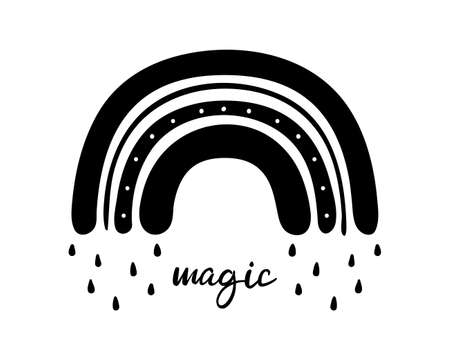 Black monochrome rainbow with rain drops and magic text. Flat hand drawn rainbow design for nursery kids room. Glyph nature weather element. For poster, print or card. Isolated vector illustration