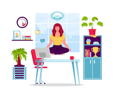 Girl meditating at workplace. Businesswoman doing yoga to calm down stressful emotion from hard work in office over desk with office process icons. Concept of meditation. Vector illustration.