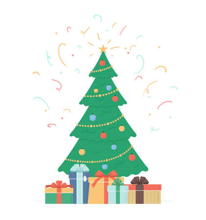 Christmas tree with star, decoration balls, light bulb chain. Gift boxes under holiday tree and confetti in the air. Traditional winter holiday background. Flat vector illustration isolated on white