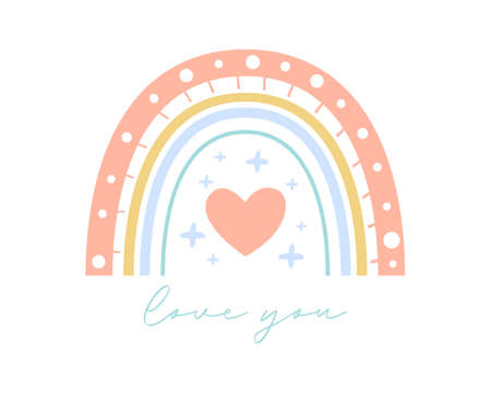 Cute gentle rainbow vector illustration with love you text. Flat boho rainbow for romantic valentine's day greeting card, nursery room print. Hand drawn icon. Nature weather element. Isolated on white