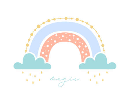 Beautiful magic rainbow with clouds and rain drops. Design with flat boho rainbow for valentine's day greeting card or nursery room print. Hand drawn icon. Nature weather element. Isolated vector Illustration