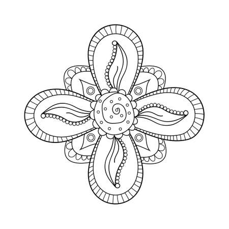 Mehndi flower ornament. Henna mehendi drawing, hand drawn tattoo. Ethnic oriental floral decoration, Indian style. Doodle vector illustration.