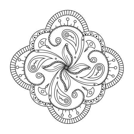 Mehndi flower round ornament. Henna drawing, hand drawn tattoo mandala. Ethnic oriental floral decoration, Indian style. Doodle vector illustration.