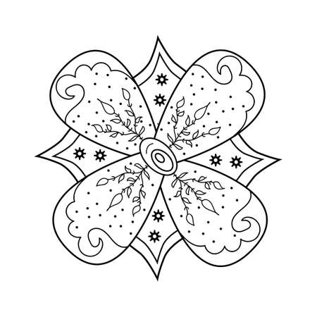 Mehndi flower ornament. Henna drawing, hand drawn tattoo. Ethnic oriental floral decoration, Indian style. Doodle vector illustration.