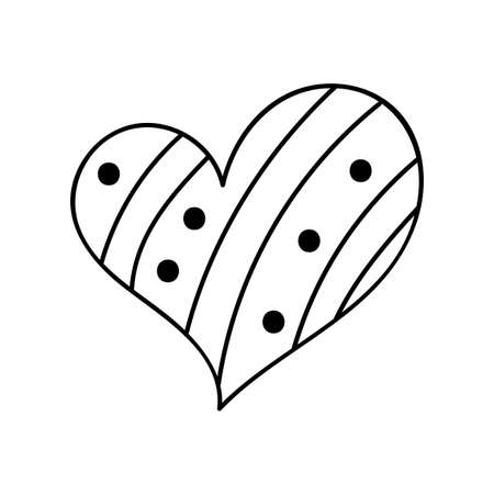 Hand drawn doodle heart with ornament inside. Line love symbol. Vector illustration for romantic card, Valentine's day, t-shirt print