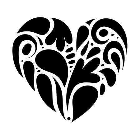 Hand drawn ornament heart shape. Ornate heart, doodle love symbol. Vector illustration for romantic card, Valentine's day, t-shirt print
