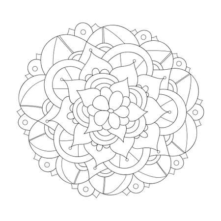 Mandala design element. Symmetric round ornament. Abstract doodle background. Good for cards, invitations, party, bag, t-shirt, marketing materials. Coloring page. Vector illustration