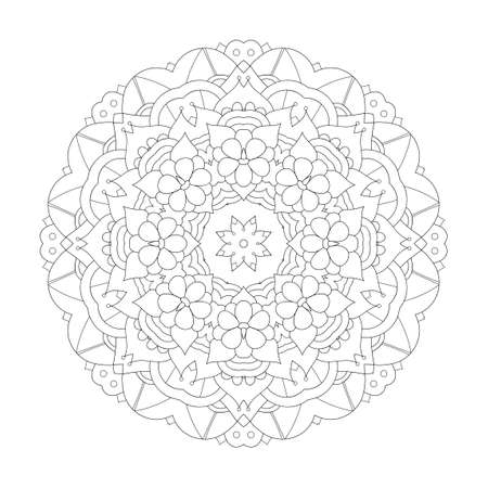 Mandala design element. Symmetric round ornament. Monochrome doodle. Good for cards, invitations, party, bag or t-shirt. Coloring page. Vector illustration