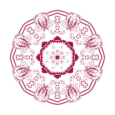 Oriental mandala design decorative element. Symmetric red round ornament. Abstract doodle. Good for cards, invitations, party, bag, t-shirt, marketing materials. Coloring page. Vector illustration Illustration