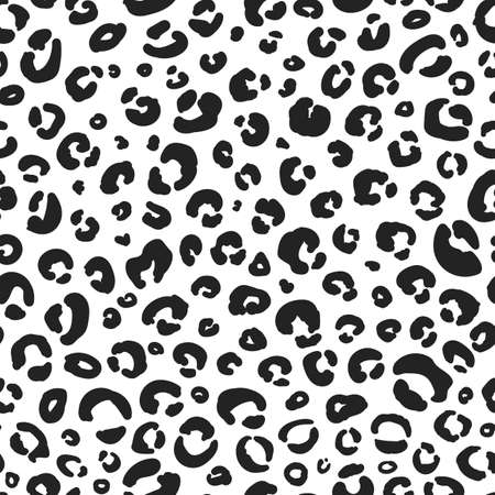 Leopard pattern texture, repeating seamless monochrome black and white. Fashion and stylish cheetah, wild life background. Safari animal skin. Vector scrapbooking paper design Illustration