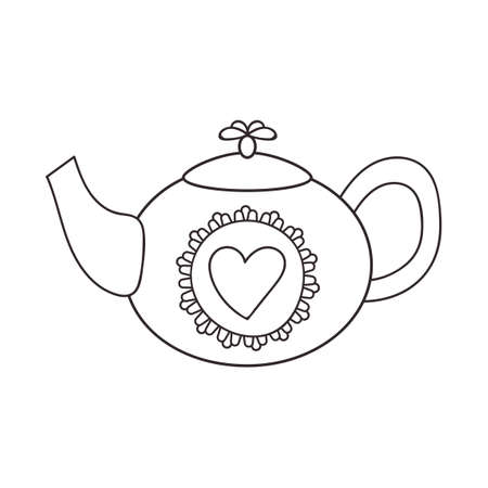 Hand drawn doodle teapot with heart vector illustration isolated on white. Hygge illustration for children. Design element for a coffee shop, cafe menu, restaurant and tea ceremony.