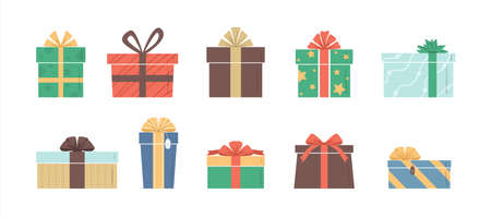 Vector illustration of cartoon flat cute color gift boxes set isolated on white background. Christmas or birthday presents collection, anniversary or Valentine s day gifts boxes.