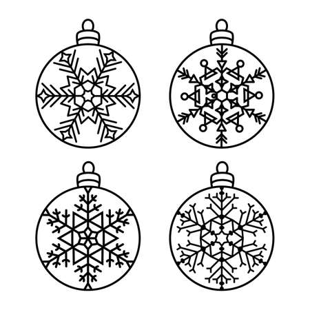Set of hanging Christmas balls, New Year decorations. Round carved patterns with snowflakes. Lace stencils. Template for laser cutting, paper cut and printing. Vector illustration. Illustration