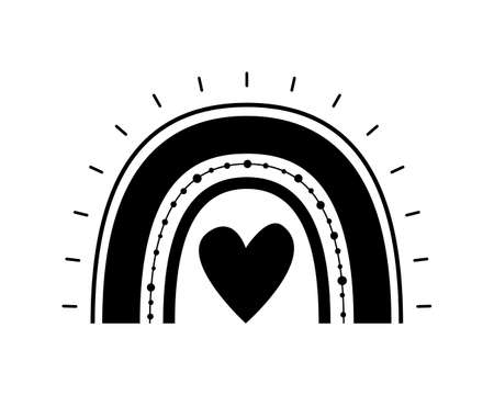 Black monochrome rainbow with heart in center, flat style. Rainbow abstract hand drawn icon. Glyph nature weather element. For poster, print, nursery room or card. Isolated vector illustration